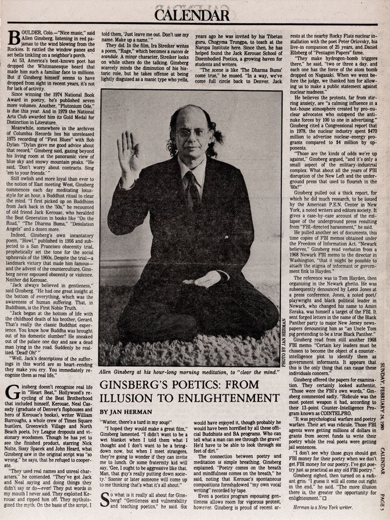 1980.02.24.la times.ginsbergs poetics It was nicely air conditioned, one could say a most cool night at the Gay ...